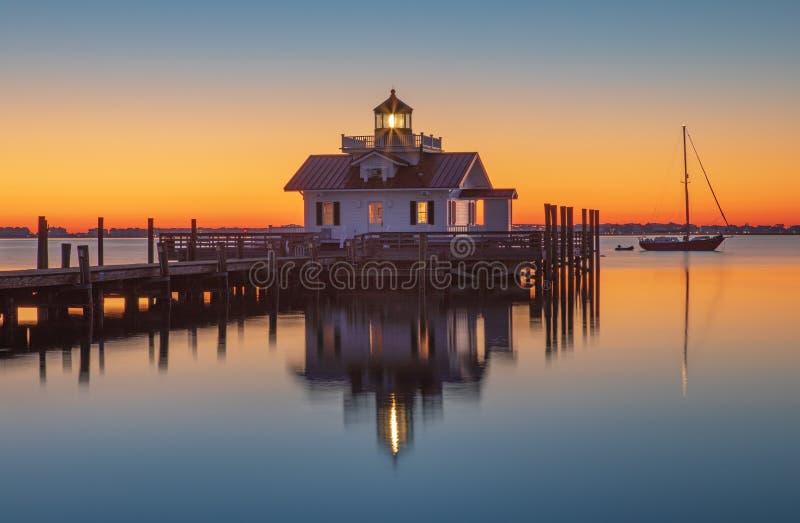 Sunrise over Lighthouse Shallowbag Bay Manteo North Carolina. Sunrise over the Roanoke Marshes Lighthouse on Shallowbag Bay in Manteo, North Carolina stock photo