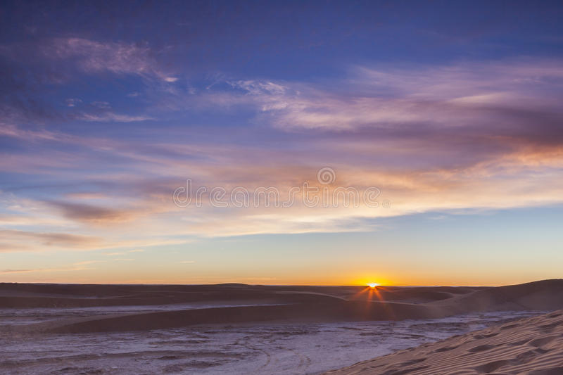 Sunrise over Sahara desert stock photography