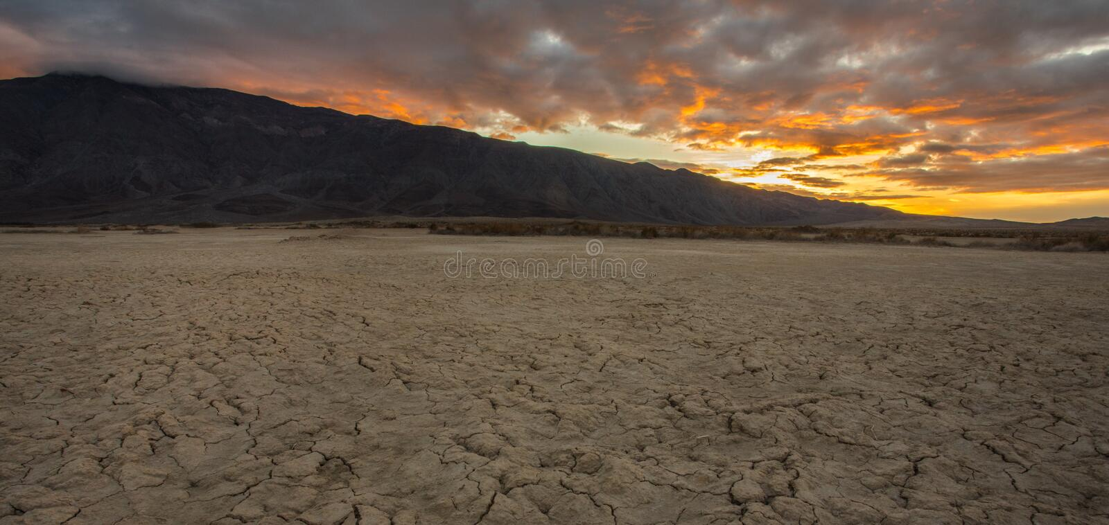 Dry Lake Bed. Sunrise Over Santa Rosa Mountains With Dry Lake Clark In Foreground, Anza Borrego Desert State Park, California stock images