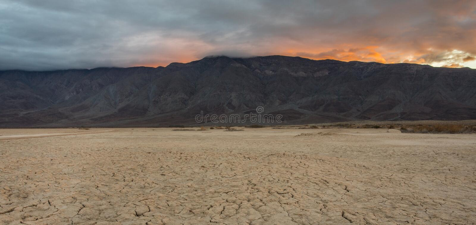 Dry Lake Clark. Sunrise Over Santa Rosa Mountains With Dry Lake Clark In Foreground, Anza Borrego Desert State Park, California stock images