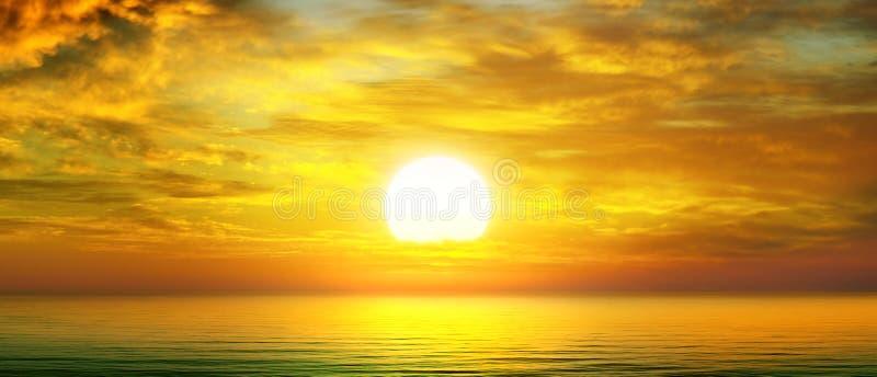 Sunrise over the sea. Bright sunrise, cloudy sky and sea stock images