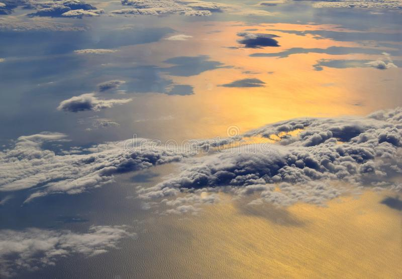 Sunrise over the sea and clouds royalty free stock photo