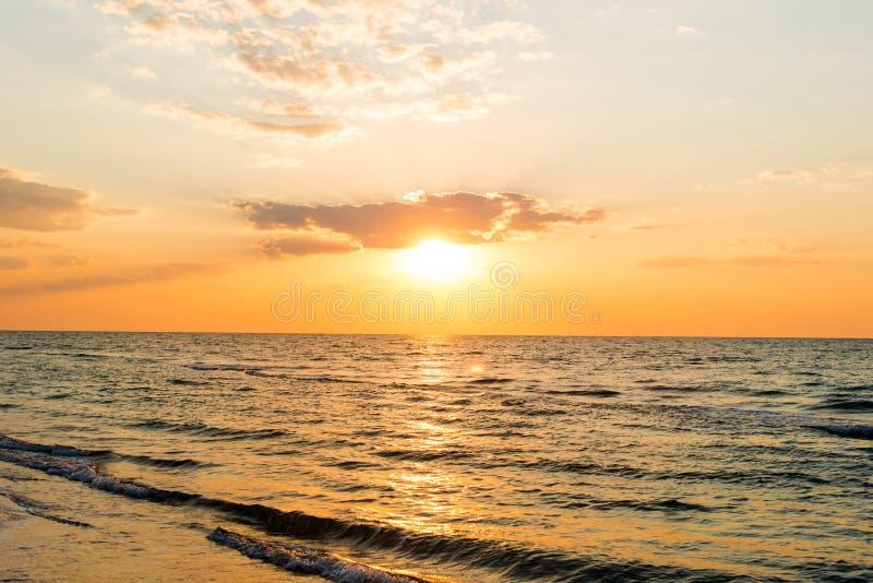 Sunrise over the sea horizon royalty free stock image