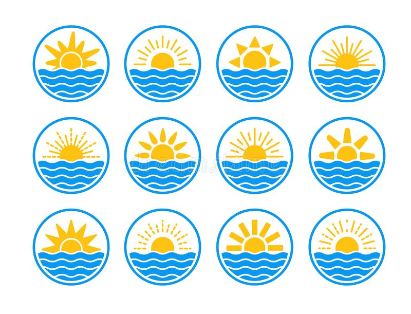 Sunrise over sea, ocean. Sunset over lake, river. Summer round labels, emblems with sun & waves. Set of flat symbols for travel & stock illustration