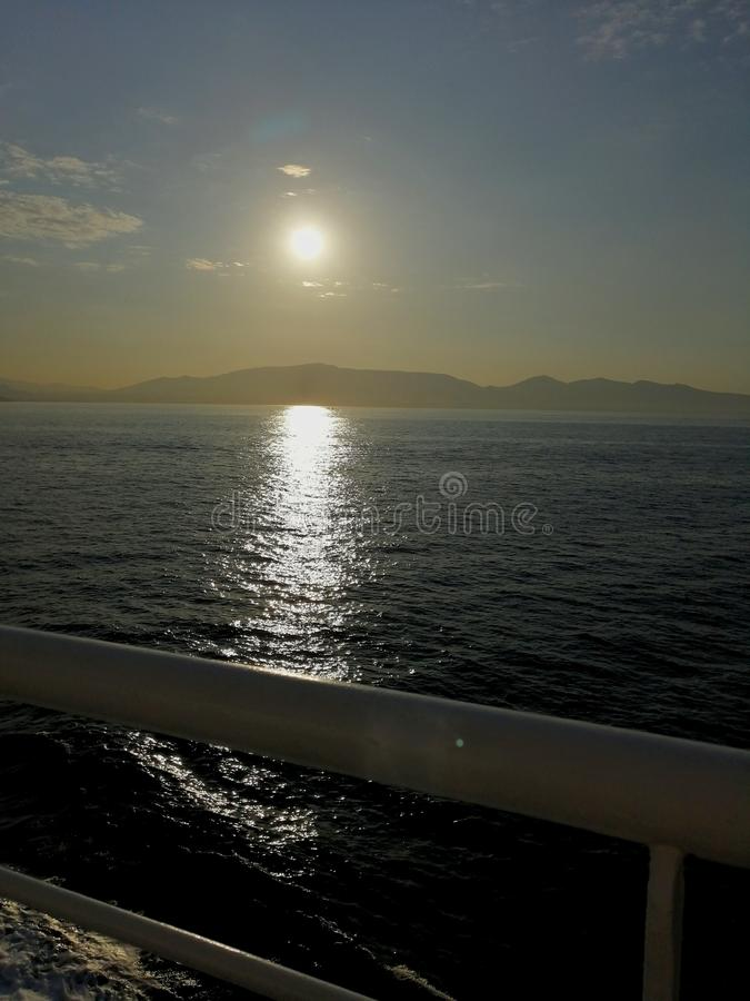 Sunrise over sea. Shoot from boat. Sunrise over sea. shoot, greece, morning stock image