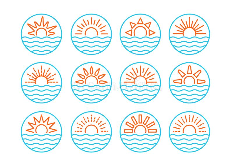 Sunrise over sea. Sunset over ocean. Summer round labels, emblems with sun & waves. Set of line signs for travel & tourism. royalty free illustration