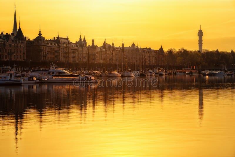 Sunrise over Stockholm, Sweden royalty free stock images