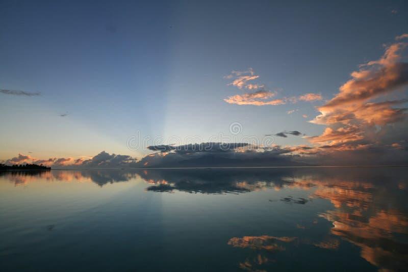 Download Sunrise over tahiti stock image. Image of reflection, water - 589847