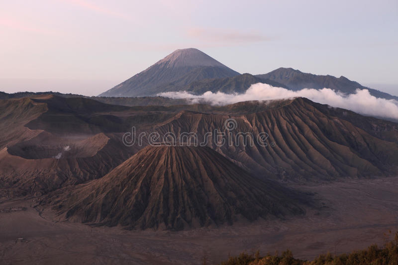 Sunrise over the Tengger Caldera in East Java, Indonesia. Sunrise over the volcanoes of the Tengger Caldera in East Java, Indonesia, pictured from Mount royalty free stock images