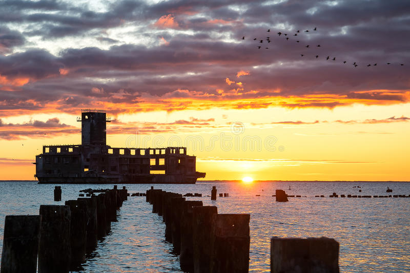 """Sunrise over the torpedo. East SÅ'Å""""ca the torpedo on the German research centers torpedoes, built on Polish territory during the Second World War royalty free stock images"""