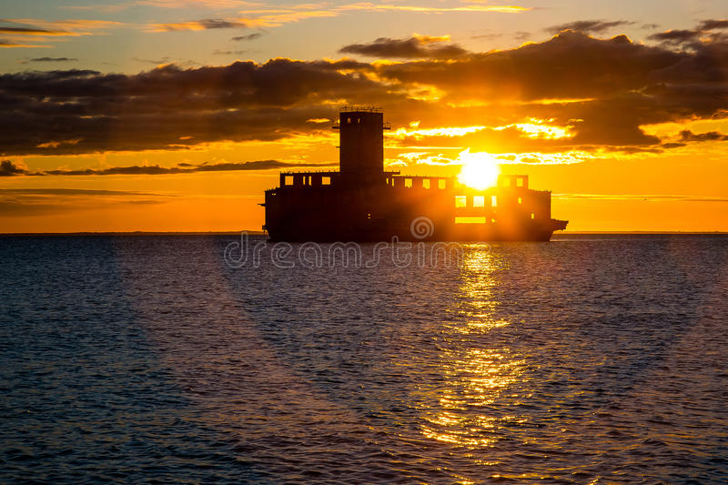 """Sunrise over the torpedo. East SÅ'Å""""ca the torpedo on the German research centers torpedoes, built on Polish territory during the Second World War stock photo"""