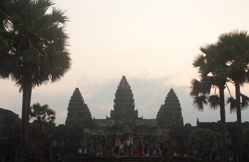 A sunrise over UNESCO Angkor Wat Temple near Siem Reap in Cambodia royalty free stock images