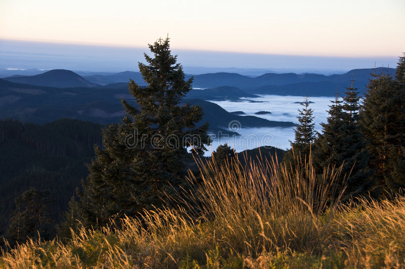 Sunrise over Willamette Valley, OR. A yellow sunrise over the cloud-wrapped and foggy Willamette Valley, OR. The hills are covered with pine forests royalty free stock photography