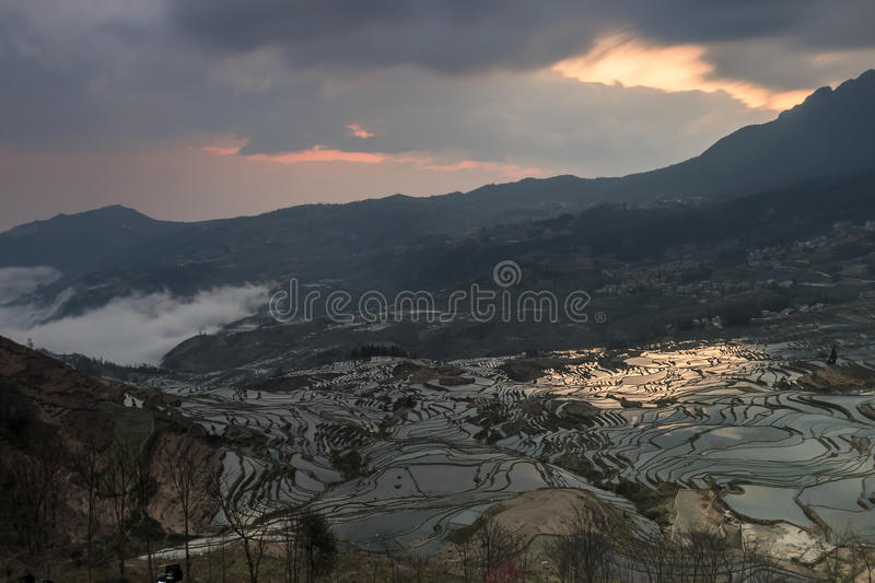 Sunrise over YuanYang rice terraces in Yunnan, China, one of the latest UNESCO World Heritage Sites.  stock image