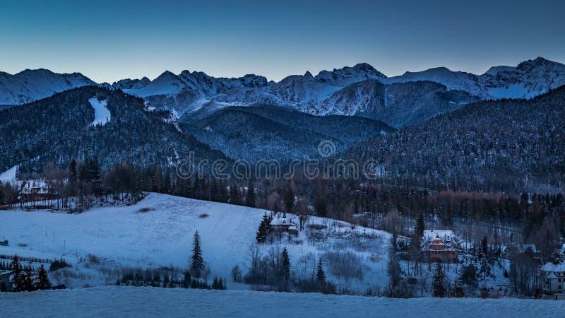 Sunrise over Zakopane in winter, Tatras mountains in Poland royalty free stock image