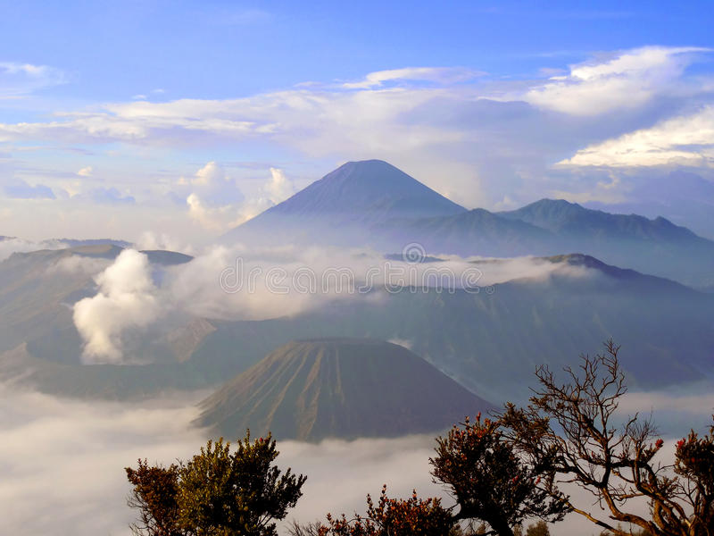 Sunrise overlooking the caldera of Tengger. And volcano Bromo and Semeru royalty free stock images