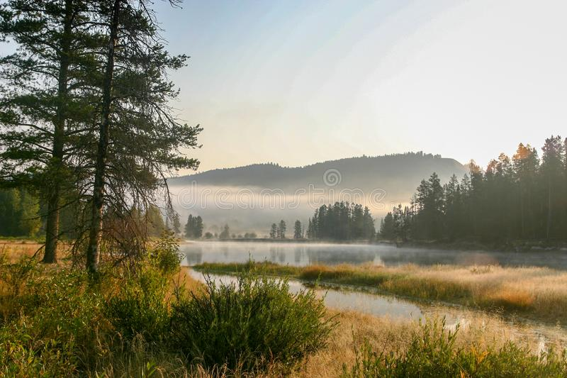 Sunrise at Oxbow Bend in Grand Teton National Park, Wyoming. royalty free stock image