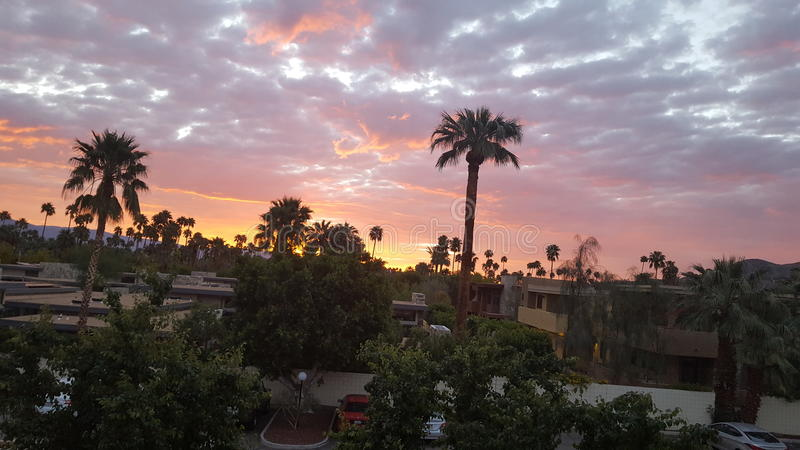 Sunrise in palm springs royalty free stock image