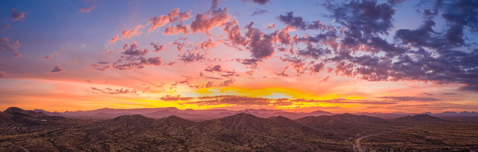 Sunrise panorama over the sonoran desert. Of Arizona with layers of mountains shot at altitude by a drone royalty free stock photography