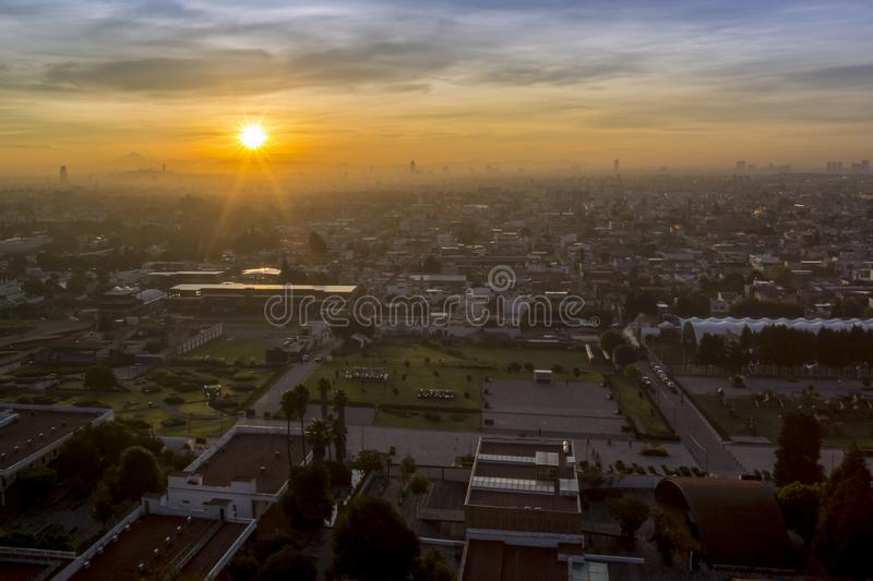 Sunrise, panoramic view of the city of San andres Cholula Puebla royalty free stock photography