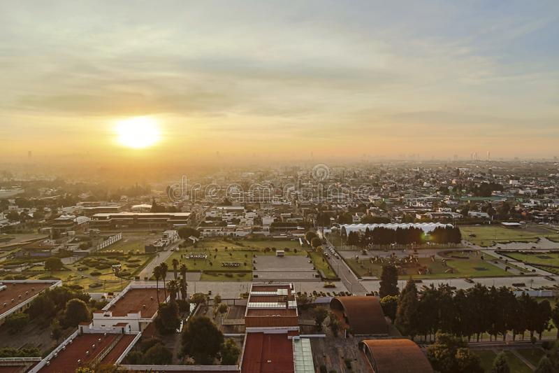 Sunrise, panoramic view of the city of San andres Cholula Puebla stock photos