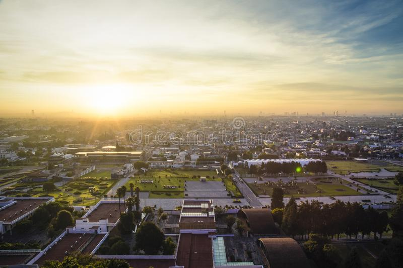 Sunrise, panoramic view of the city of San andres Cholula Puebla stock photography