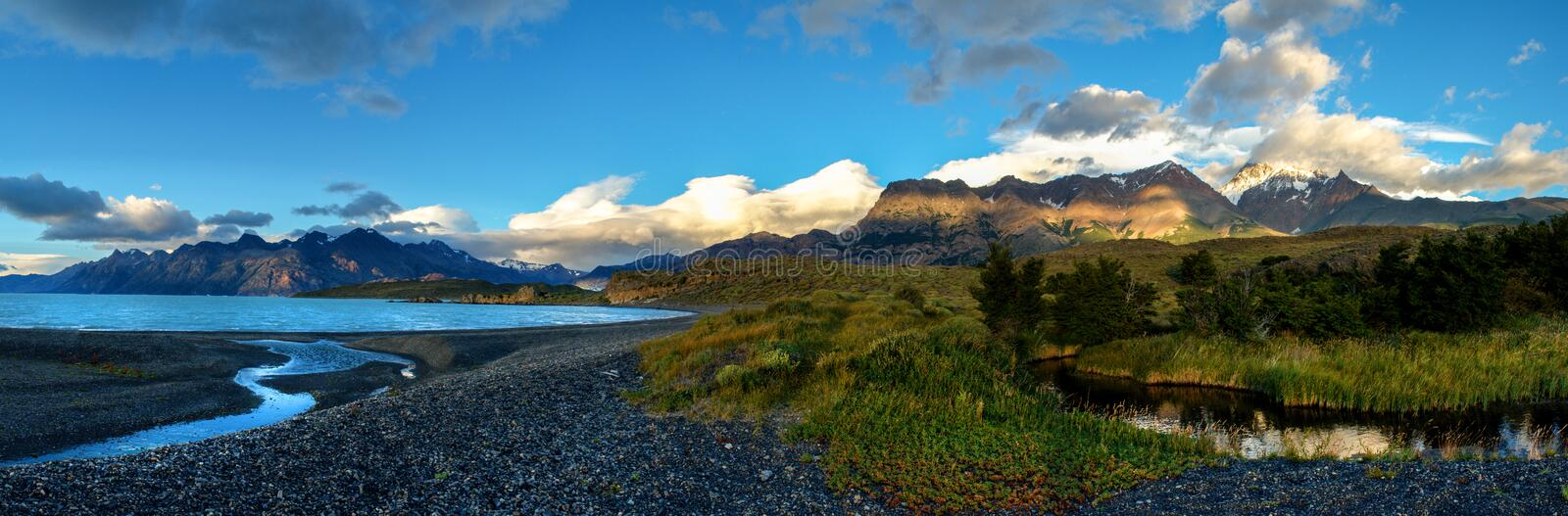 Sunrise in Patagonian Andes, big size panorama royalty free stock images