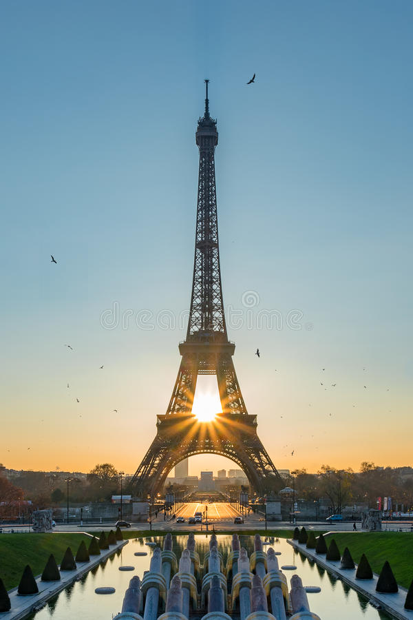 Sunrise perfectly align. Sunrise align perfectly with the Eiffel tower, France stock photos