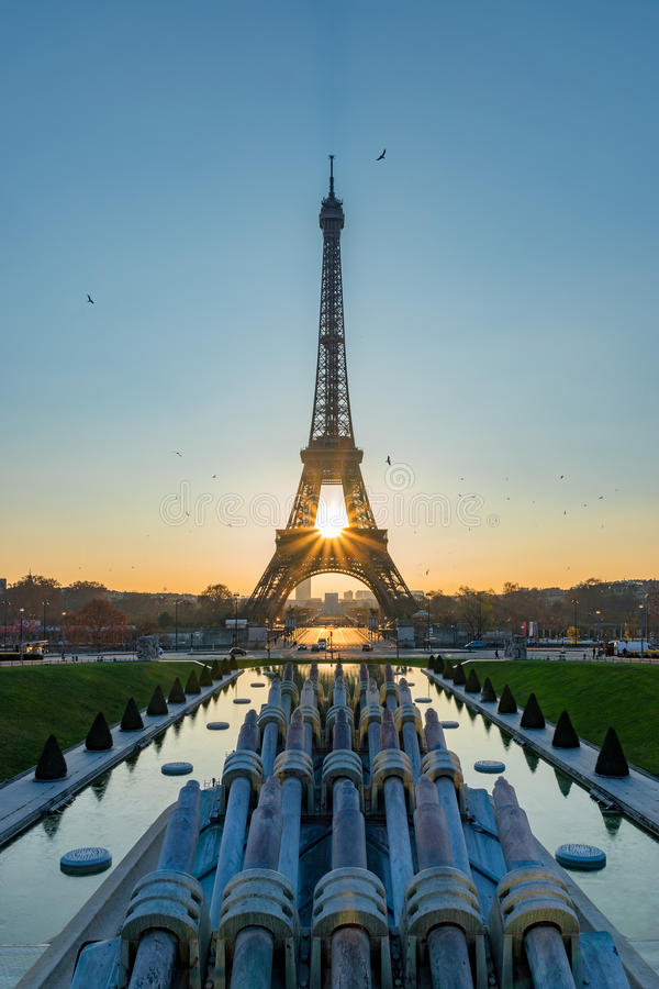 Sunrise perfectly align. Sunrise align perfectly with the Eiffel tower, France royalty free stock photo