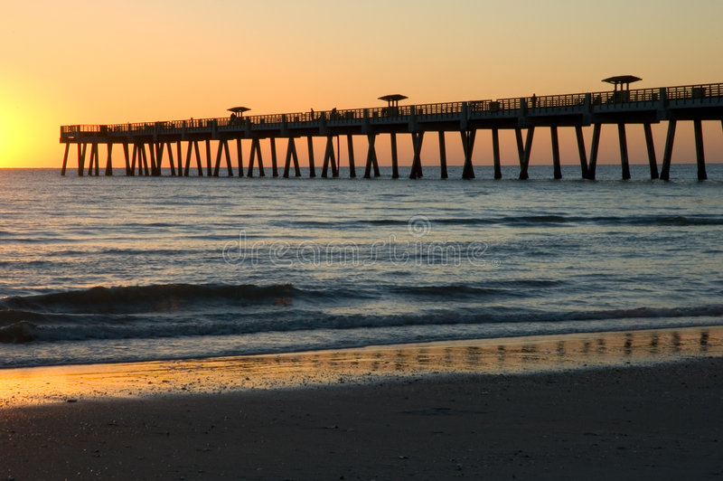 Sunrise Pier. Sunrising over a fishing pier in Jacksonville Beach, Florida, March 2005