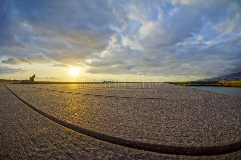 Sunrise Pier. Sunrise on a Pier over Atlantic Ocean in Tenerife Canary Islands Spain royalty free stock photos