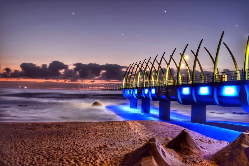 Sunrise pier South Africa stock image
