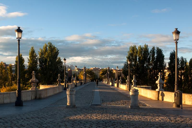 Sunrise in the Piramides neighborhood of madrid royalty free stock photography
