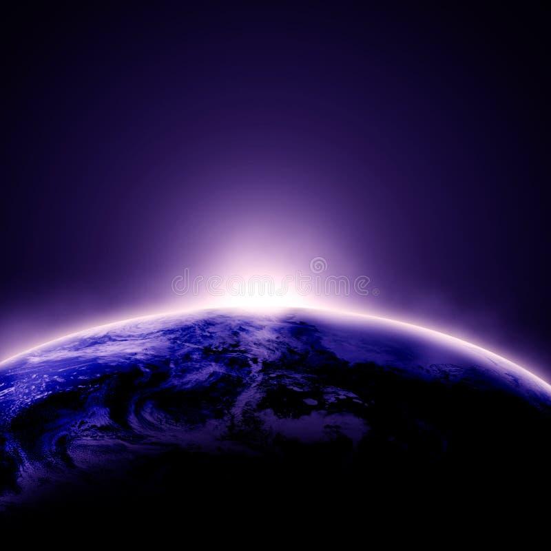 Sunrise on planet earth stock illustration
