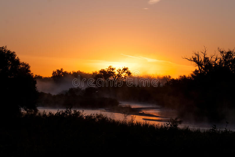 Sunrise on the Platte River royalty free stock photo