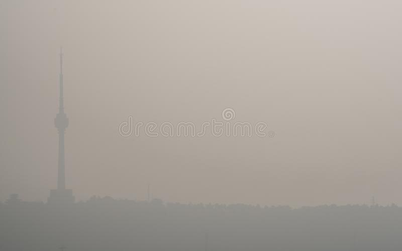 Sunrise on pollution peak day in Wuhan central China with visible haze in the air stock photography