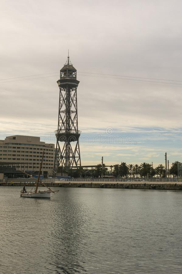 Sunrise at the port of Barcelona, at the end of the Ramblas. Bar royalty free stock image