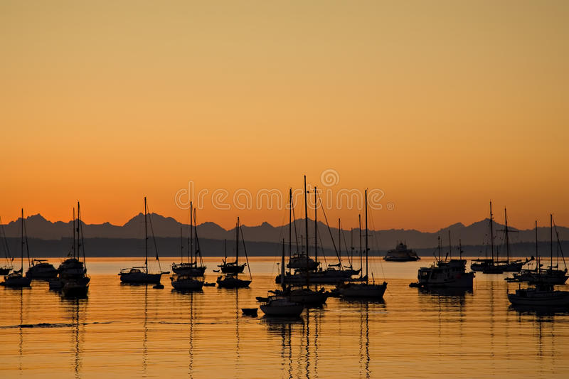 Sunrise In Port Townsend Bay Stock Image