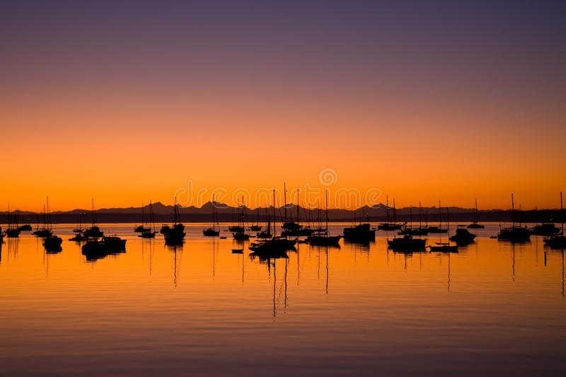 Download Sunrise In Port Townsend Bay Washington Stock Photo - Image of anchored, light: 10989896