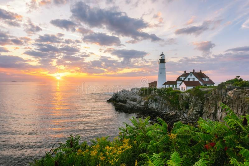 Sunrise at Portland Head Lighthouse with flowers in the foreground. Sunrise at Portland Head Lighthouse in Cape Elizabeth, Maine with flowers in the foreground royalty free stock photography