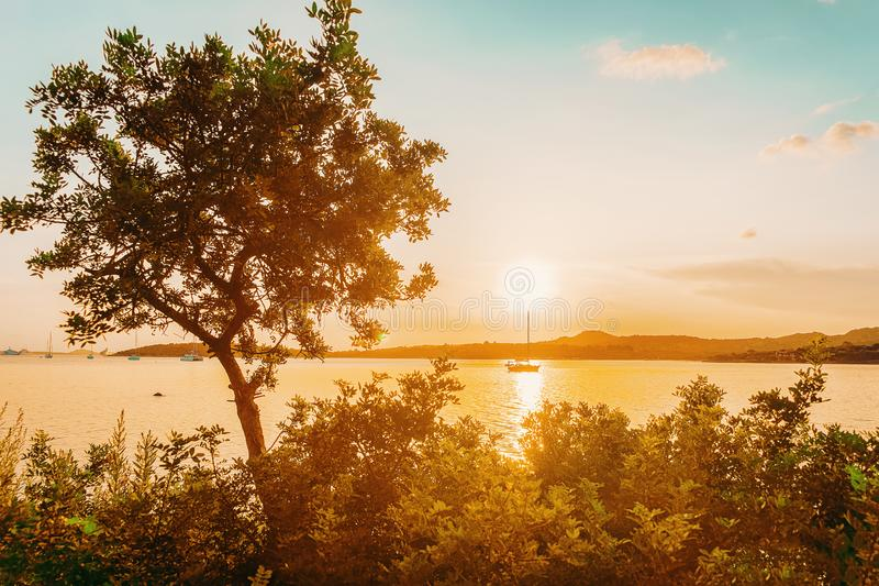 Sunrise at Porto Rotondo at Costa Smeralda. In Mediterranean sea, Sardinia, in Italy stock image
