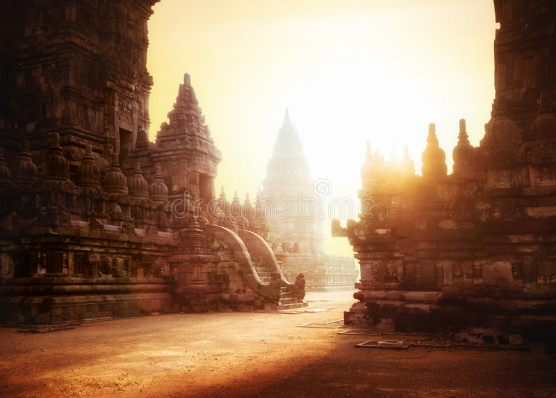 Sunrise at Prambanan Hindu Temple. Java, Indonesia. Amazing sunrise at Prambanan Temple. Great Hindu architecture in Yogyakarta. Java island, Indonesia royalty free stock photography