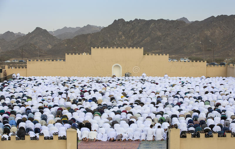 Sunrise prayer at the start of Eid, muslim holiday after a month stock images