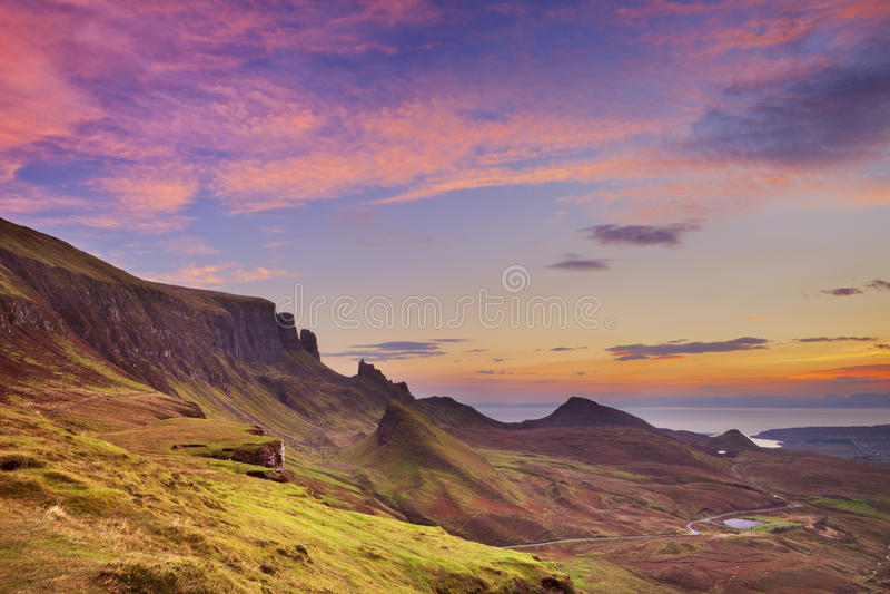 Sunrise at Quiraing, Isle of Skye, Scotland. Sunrise over the Quiraing on the Isle of Skye in Scotland royalty free stock photography