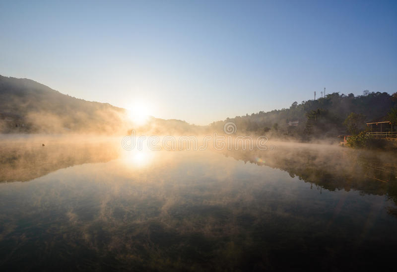 Sunrise at reservoir stock photography
