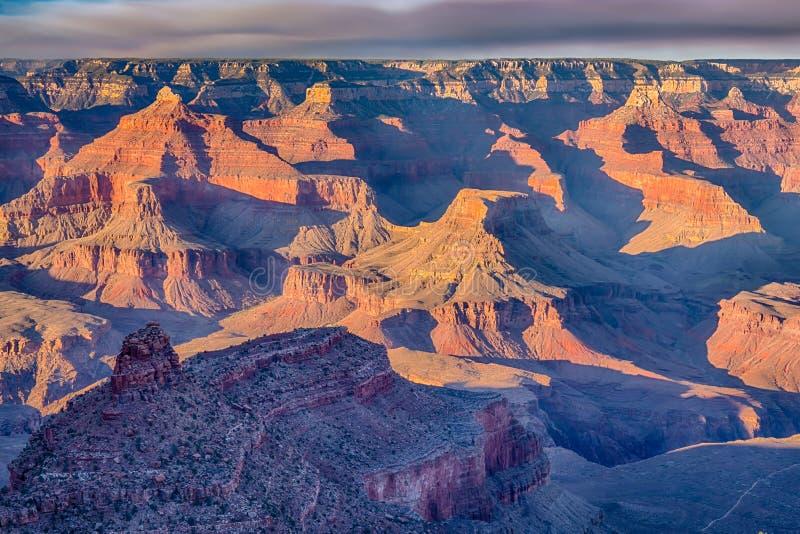 Sunrise on the rim of the Grand Canyon. Sunset on the rim of the canyon at Grand Canyon National Park, Arizona stock photography