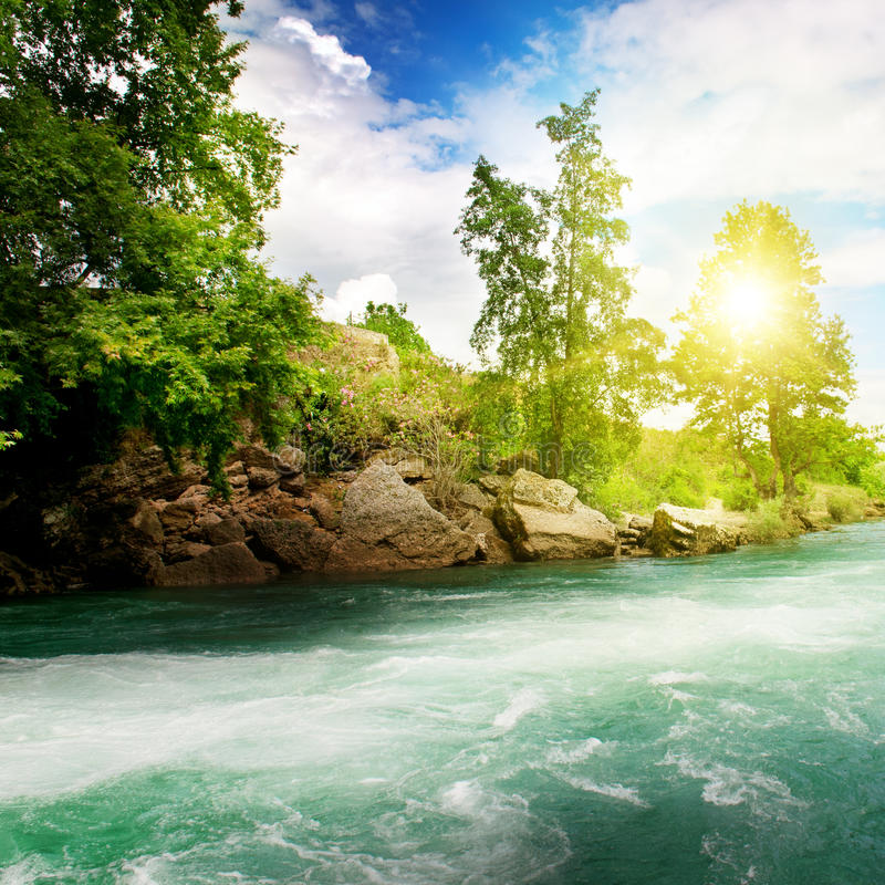 Download Sunrise, River And The Blue Sky Stock Image - Image: 35112553