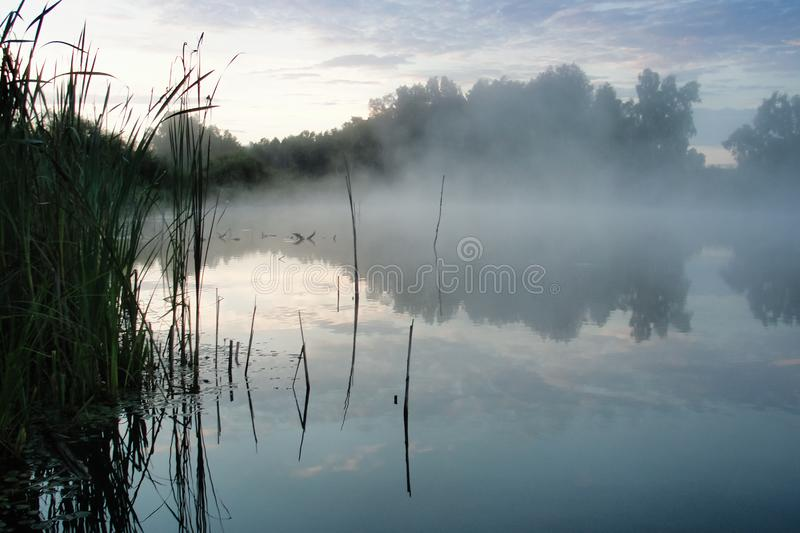 Sunrise and river with morning fog Siberia Russia royalty free stock image