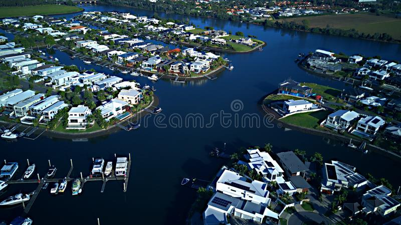Sunrise RiverLiinks Canal Estate Gold Coast Grass play area House Estate next to Coomera River. Riverliinks Canal Estate Gold Coast Grass play area House Estate stock photos