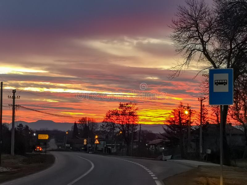 Sunrise by the road through town. Kragujevac town in central Serbia stock images